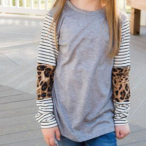 Girls Long Sleeve Leopard and Strip Shirt